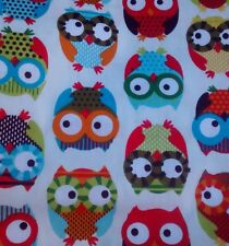"*NEW* OWL, ITS A HOOT White/Multi Colour fabric 100℅ cotton 60"" sold/PER METRE/"
