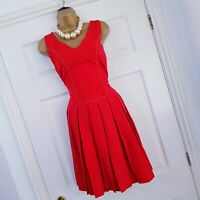 Vintage 1940s Red Pleated Flannel Pinafore Dress Button Sleeveless Midi UK 12