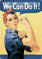 Rosie The Riveter We Can Do It Embossed large Metal Sign (na 3040) REDUCED ++