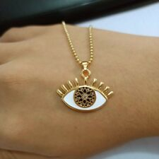 Evil Eye Necklace Crystal Rhinestones Pendant Gold Jewelry Gift Sweater Chain LB