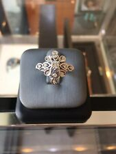 ANTIQUE PLATINUM DIAMOND CROSS STAR FLOWER RING .58 CARATS TOTAL F-G VS-SI