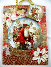 "PUNCH STUDIO 3D Old World Santa Jewels & Glitter 8 1/2"" Christmas Gift Bag More!"