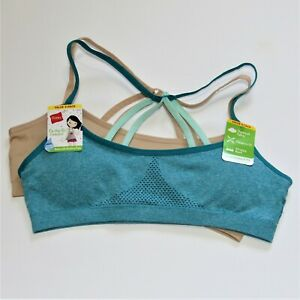 Hanes Girls Seamless Wireless Racerback Pull On Bra Teal/Tan Size Small 2 Pack