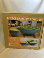 "8 Piece Bamboo Bowl Set - Natural/Teal 14"" Serving Bowl & 6.5"" Salad Bowls - NEW"