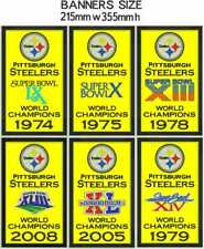 """Pittsburgh Steelers Super Bowl World Champions Banners Embroidered 14"""" x 8.5"""""""