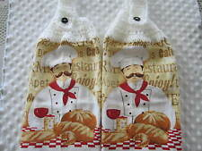 2-PIECE KITCHEN HANGING TOWEL,TOWELS+CHEF+HANDMADE CROCHETED TOPS, GREAT GIFTS