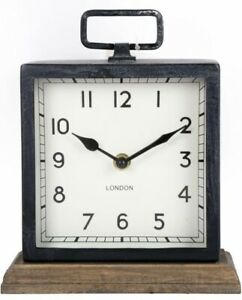 Metal Distressed Square Clock with Wooden Base Desk Home Office Mantle