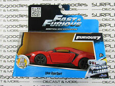 JADA 1:32 Scale Fast & Furious 7 Red LYKAN HYPERSPORT Exotic SuperCar #97386