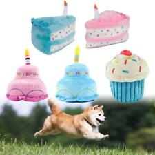 Pet Dog Cat Cute Plush Birthday Cake Doll Bite-resistant Play Squeaky Chew Toy.