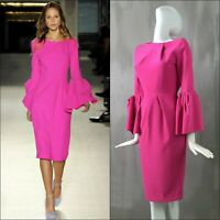 NEW Roksanda Ilincic Neon Pink Mid Length Evening Cocktail Dress Size XS UK6 US2