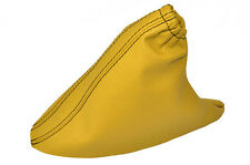YELLOW LEATHER BLACK STITCHING HANDBRAKE GAITER FITS FIAT PANDA 2003-2012