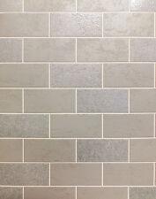 Grey White Tile Effect Wallpaper Glitter Luxury Brick Washable Vinyl Bathroom