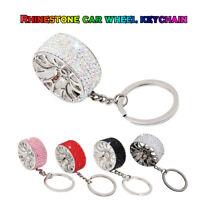 Crystal Rhinestone Wheel Rim Keyring Charm Pendant Bag Purse Car Key Chain Gift
