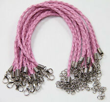 20Pcs Pink Leather Cord Braid Rope Bracelets Jewelry With Lobster DIY Wholesale
