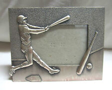 "Baseball Player, Bat & Ball Metal Appx. 6"" x 7"" Picture Frame (Holds 4"" x6"")"