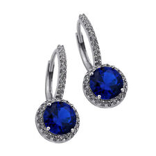 2.49 CT STUNNING HALO DROP BLUE SAPPHIRE EARRINGS Sterling Silver 925