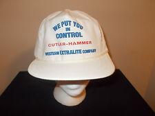 VTG-1990s Western Extralite Cutler Hammer rope leather strapback hat sku7