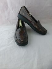 Stuart Weitzman Brown Faux Croc Loafers Size 9.5