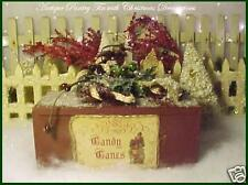 Primitive Antique Pantry Tin Chenille CandyCanes & Christmas Glittered Ornaments