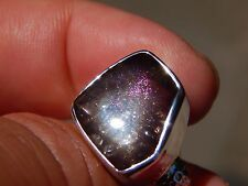 41.5 ct. RARE PINK FIRE COVELLITE IN QUARTZ CRYSTAL STERLING SILVER RING JEW 395