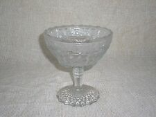 """EAPG Indiana Glass ** BIRD & STRAWBERRY-clear ** 5"""" tall Open Compote * ca. 1910"""