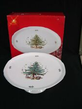 NIKKO CHRISTMASTIME PATTERN FOOTED CAKE PLATE PEDESTAL CAKE STAND UNUSED IN BOX