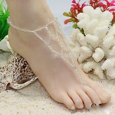 2 PCS Handmade Glass Beads Barefoot Beach Sandals Wedding Anklet Toe Jewelry