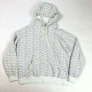 Champion Hoodie All Over Logo Print White Large