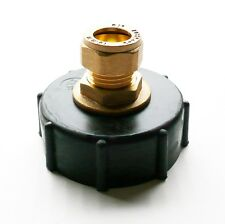 """IBC Adapter (2"""" S60X6 Coarse Thread) to 15 mm Copper Pipe Connector"""