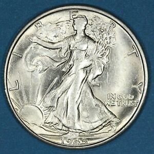 1945-S United States 50 Cents coin, Walking Liberty Half Dollar, Uncirculated