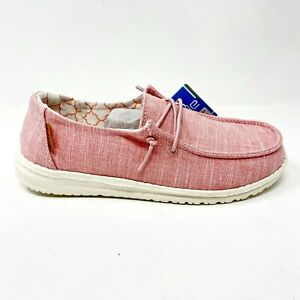 Hey Dude Wendy Linen Cotton Candy Pink Youth Casual Lightweight Shoes 130125018