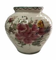 Vintage Ulmer Keramik Hand Painted Flower Design German Vase Planter 105