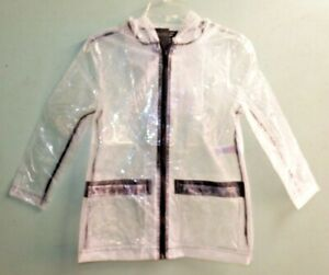 NEW GIRLS EX NEW LOOK TRANSPARENT / BLK CLEAR HOODED RAIN JACKET COAT Age 9 yrs