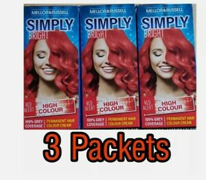 3x Mellor & Russell Simply Bright Red Alert Permanent Hair Colour Dye