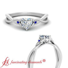 .50 Carat Heart Shaped Diamond And Sapphire Gemstone Three Stone Engagement Ring