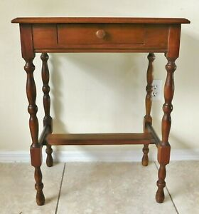 """Antique/Vtg 30"""" Tall Solid Wood Side/End Accent Table w/ Drawer Turned Legs"""