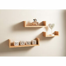 Bremen set of 3 oak clean contemporary floating u shape shelves storage shelf