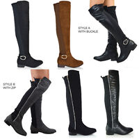 Womens Over The Knee High Flat Ladies Biker Riding Elasticated Stretch Boots