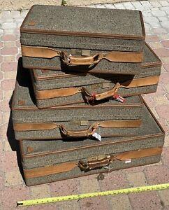 Vintage Hartmann Brass Leather Tweed Train Airplane Luggage Suitcases