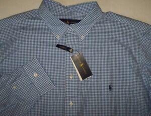 NWT Ralph Lauren 100% Cotton Stretch BLUE GINGHAM Shirt Men 4XLT Navy Polo Pony