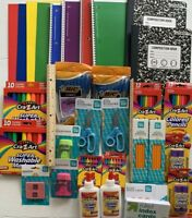 School Supplies Bundle Notebooks Markers Crayons Glue Crayons Pens pencils