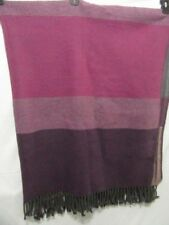 Linea Casa by Sferra Stripe Purple Grey 50 x 70 Fringed Throw Blanket