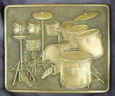 Baron 1980 9 Piece Cymbals Kick Drums Vintage Drum Set Solid Brass Belt Buckle
