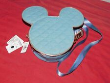 Disney Parks Pin Trading Mickey Mouse Icon Crossbody Bag Quilted Denim Rose Gold