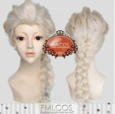 Frozen The Snow Queen Elsa Custom Styled Pale gold braid Cosplay Wig