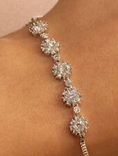 18k Round Cut Diamond Bracelet White Gold Finish Adjustable 1ct For Women