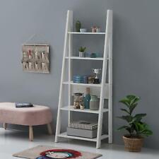 Riva Scandinavian Retro Ladder Bookcase Shelving Shelf Unit White 5 Tier