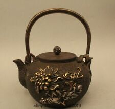 "9"" Archaic Japan Japanese Iron Beautiful wild geese Kettle Wine Tea Pot Flagon"