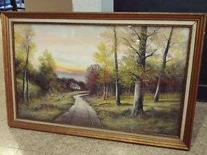 Andrew Severin Gunderson PASTEL COUNTRY ROAD signed 33.5 X 21.5
