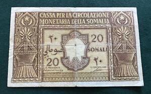 1950 ITALIAN SOMALILAND 20 SOMALI BANKNOTE RARE AVF.